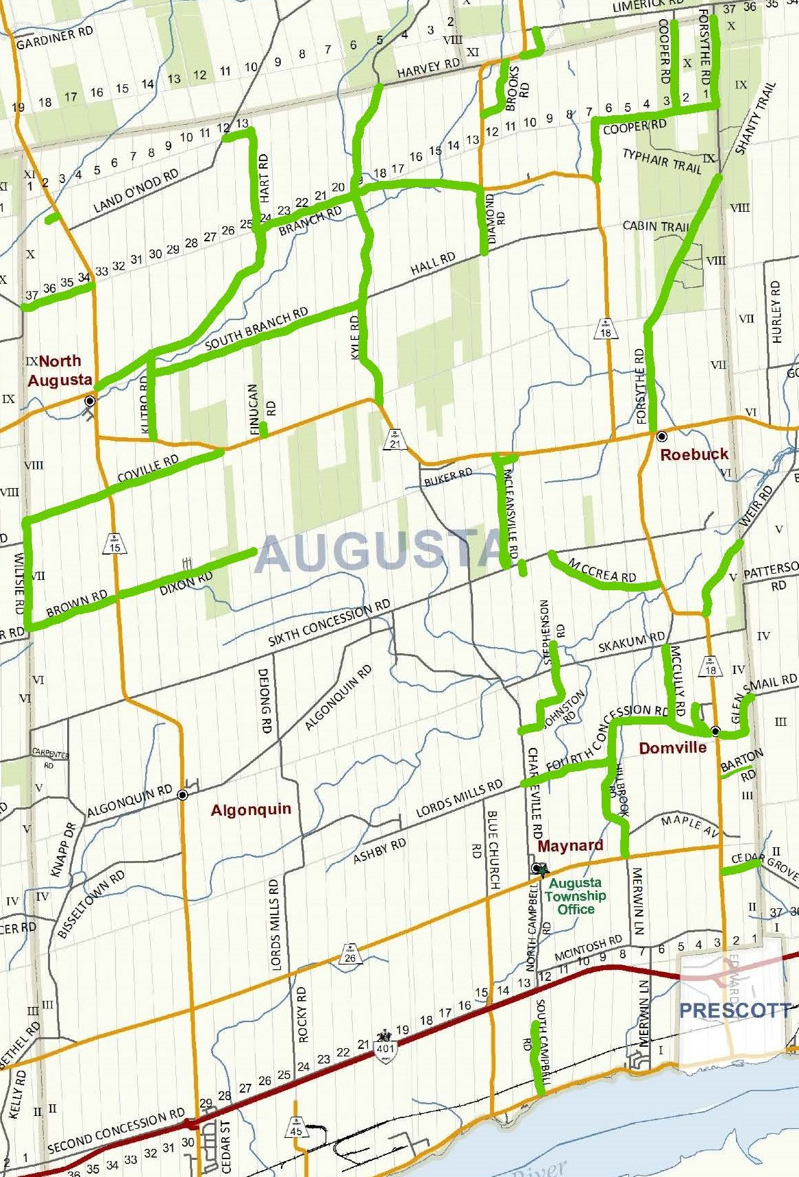 township map with the roads to be sprayed marked on it