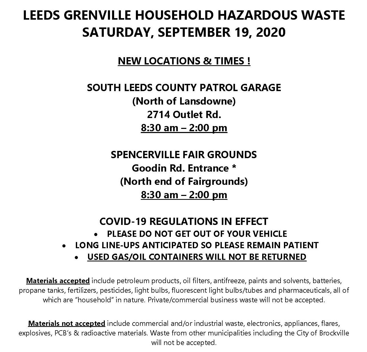 UCLG Household Hazardous Waste Day - Spencerville* @ Spencerville Fairgrounds, Goodin Road Entrance, North End of Fairgrounds | Minneapolis | Minnesota | United States