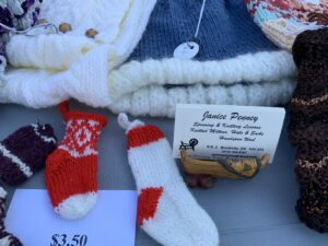 Farmer's Market Booth: Spinning and Knitting