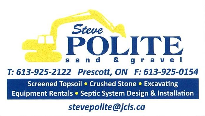 Steve Polite Sand & Gravel business card