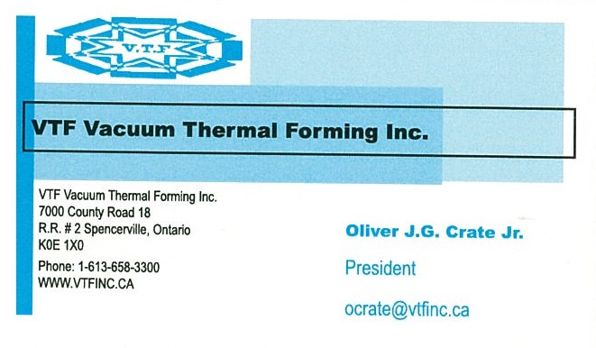 VTF Vacuum Thermal Forming Inc. business card