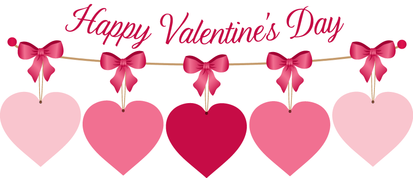 string of hearts with happy valentine's day written overtop