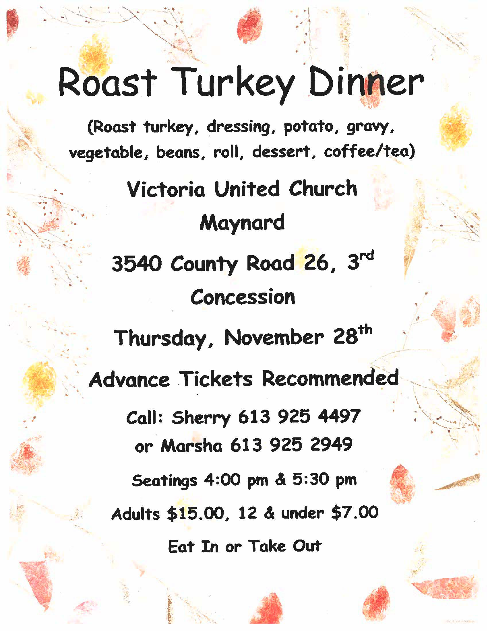 Victoria United Church Roast Turkey Dinner @ Victoria United Church | Ontario | Canada