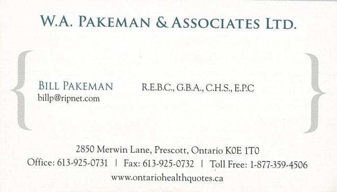 W.A. Pakeman & Associates Ltd. business card