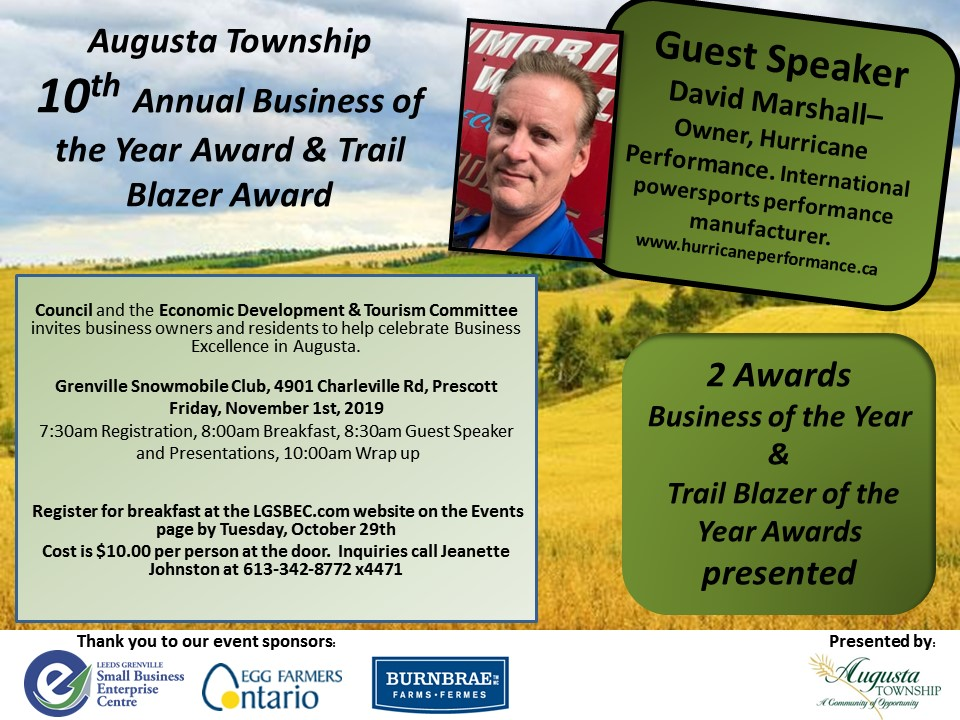 Business & Trailblazer of the Year Award Breakfast @ Grenville Snowmobile Club | Ontario | Canada