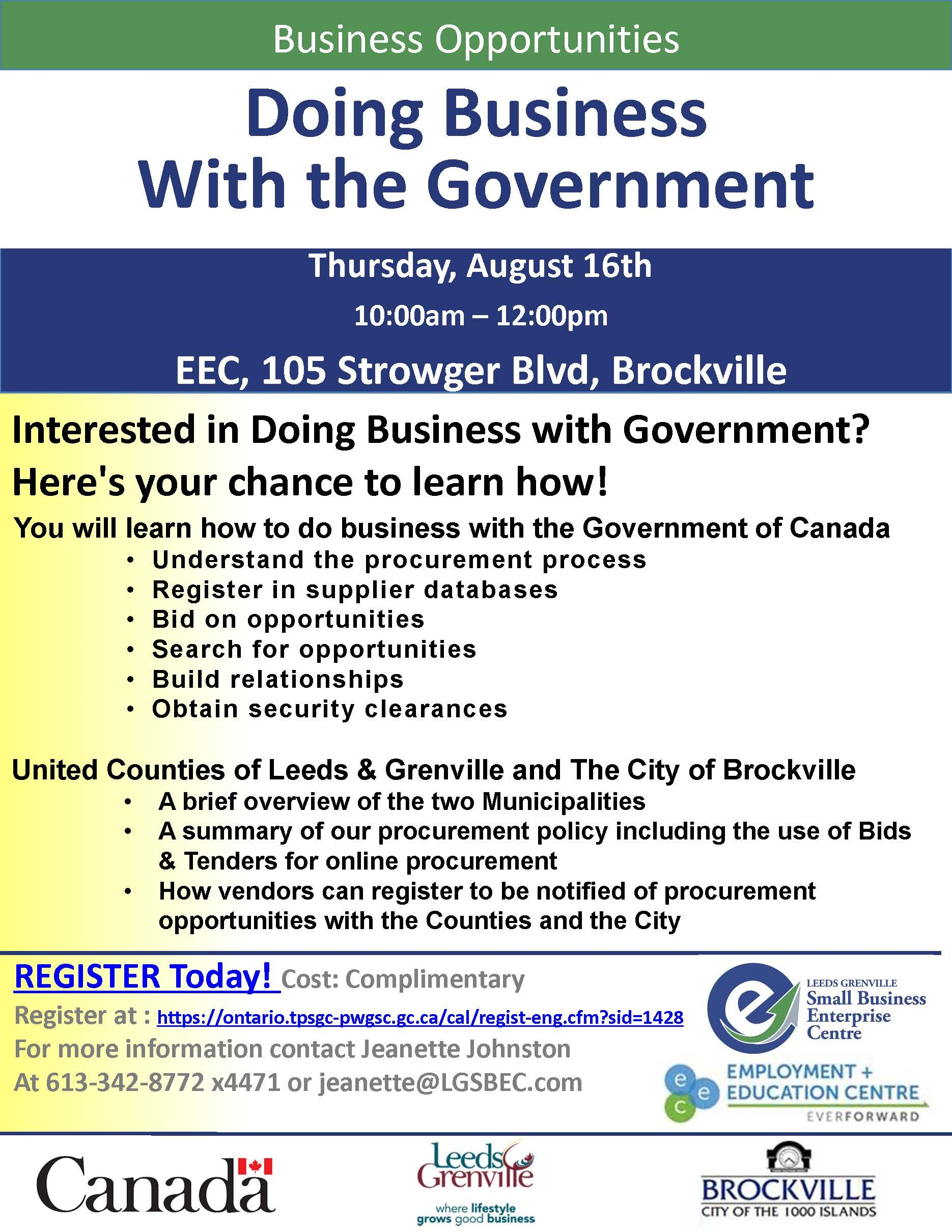 Doing Business with Government Seminar @ Employment and Education Centre | Brockville | Ontario | Canada