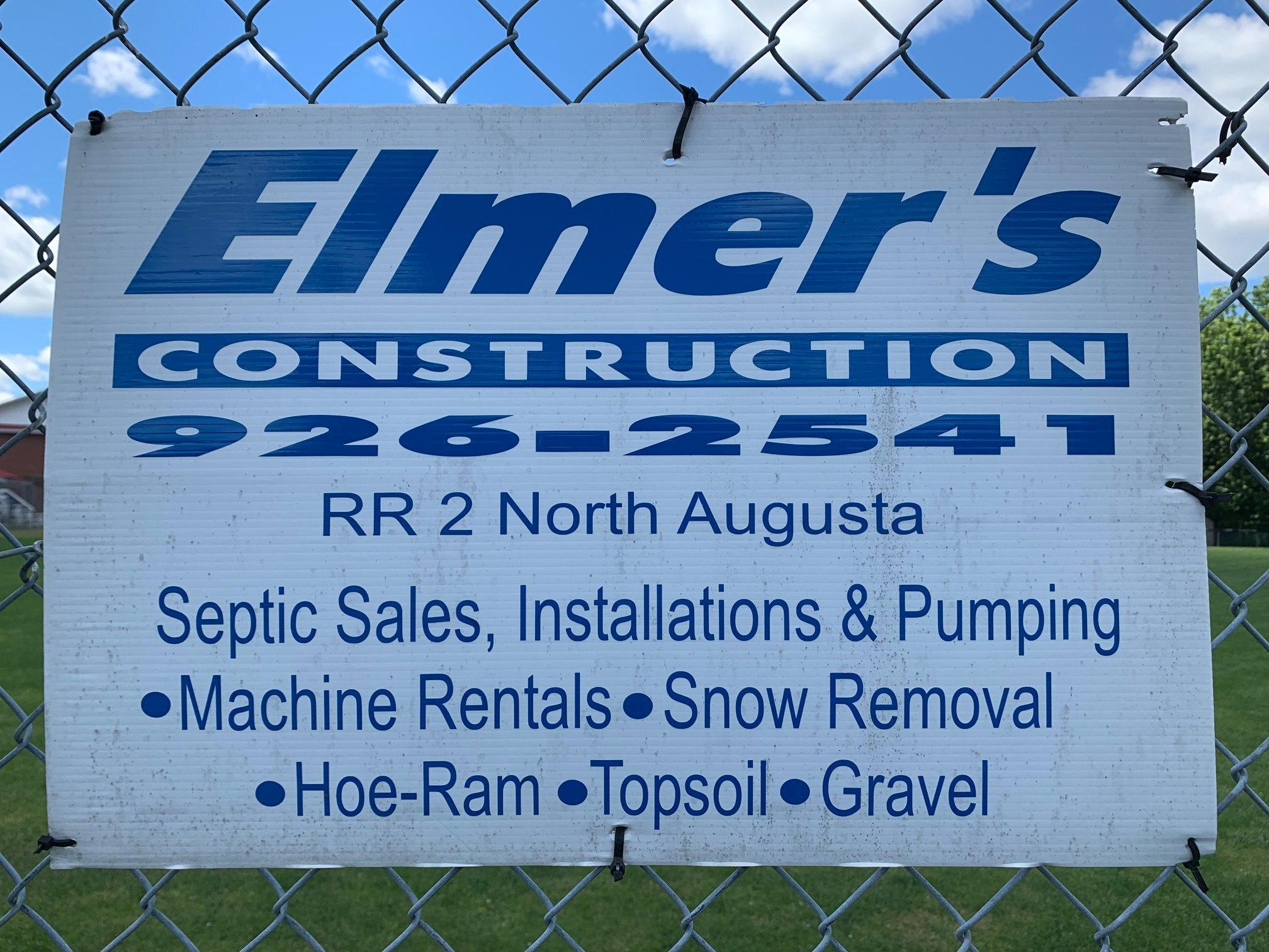 elmer's construction 926-2541 RR2 north augusta, septic sales, installations & pumping. Machine rentals, snow removal, hoe-ram, topsoil, gravel