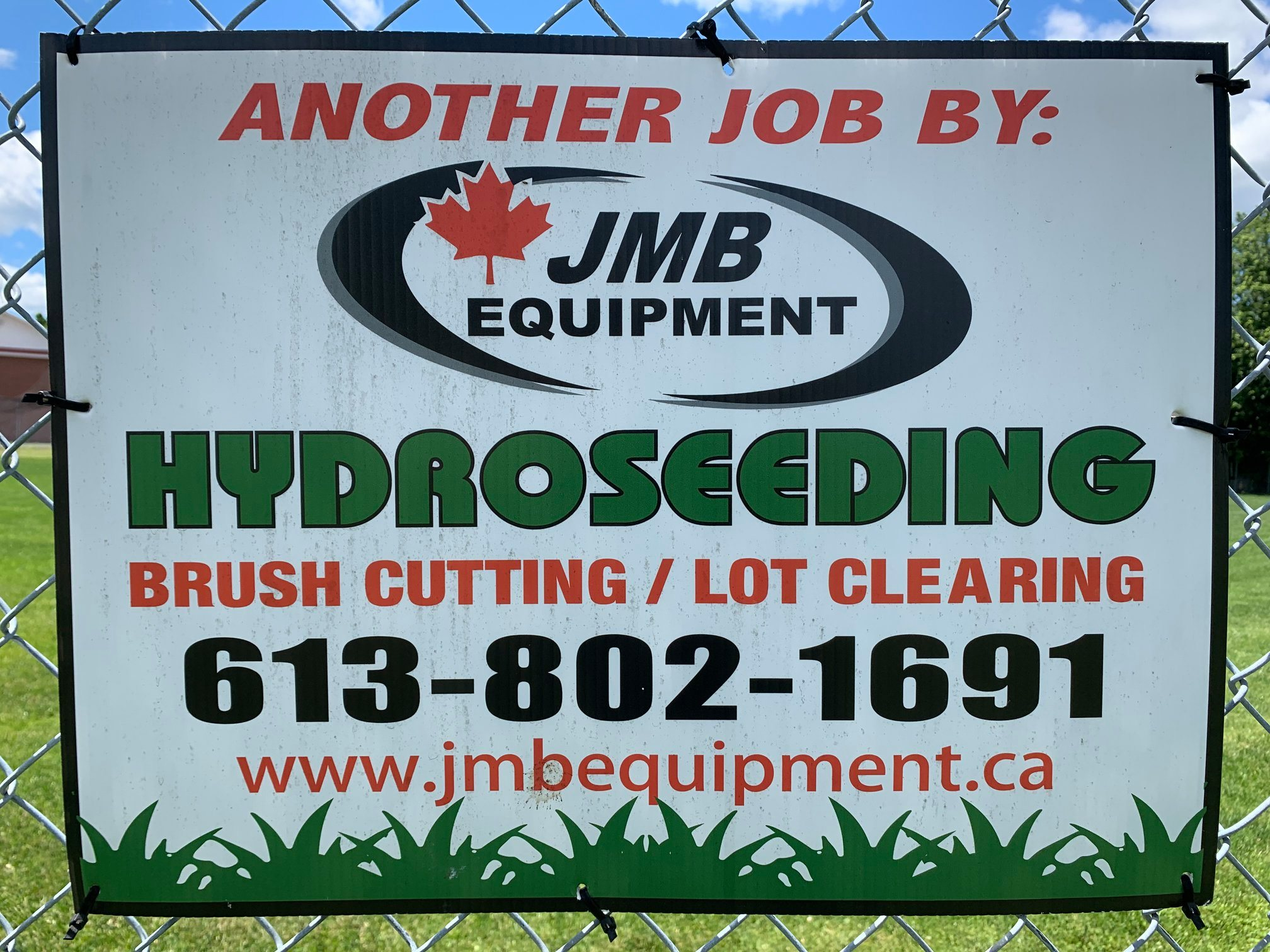 another job by JMB equipment hydroseeding, brush cutting/lot clearing. 613-802-1691 www.jmbequipment.ca