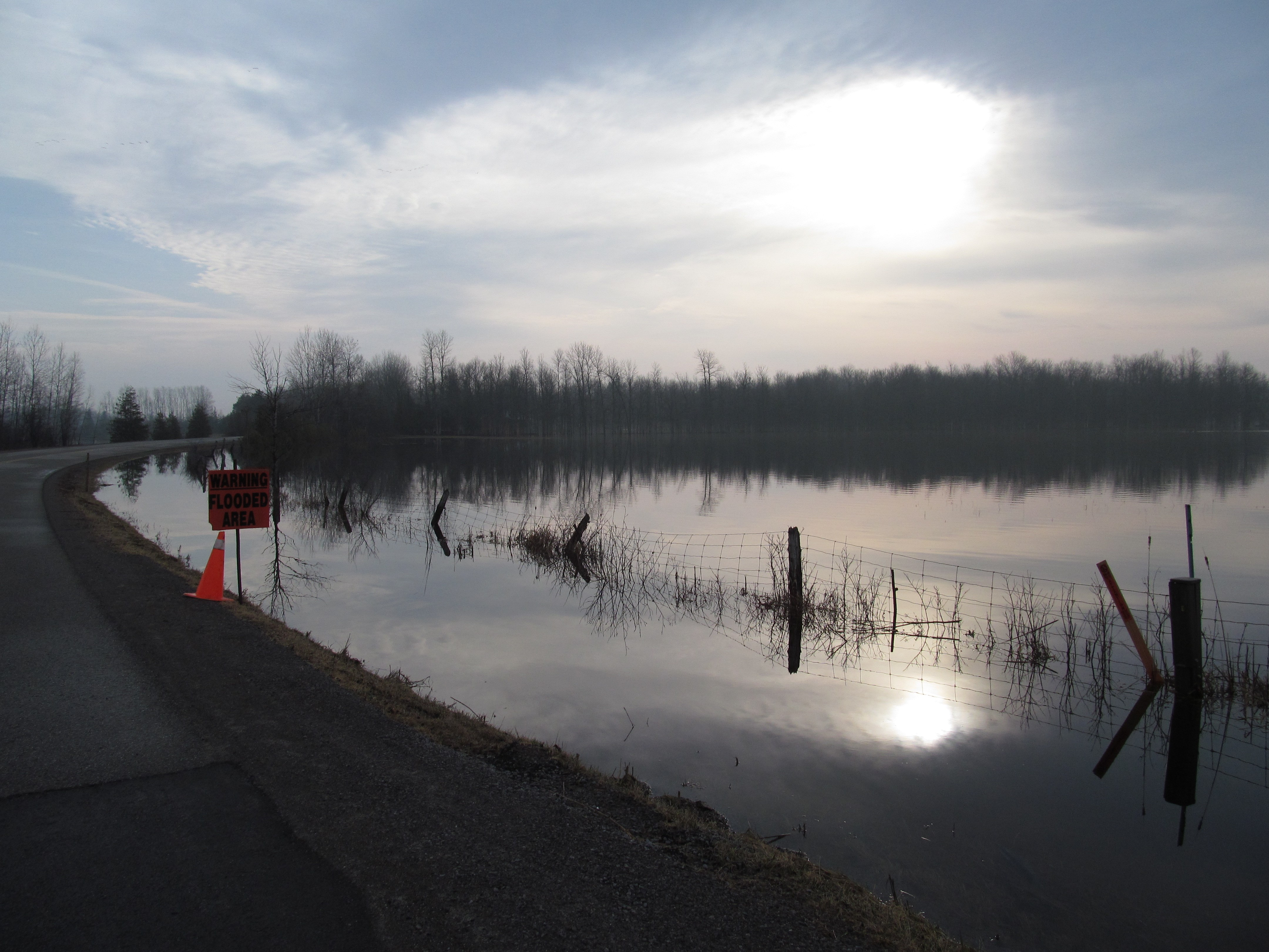 kemptville creek, flooded near the roadside
