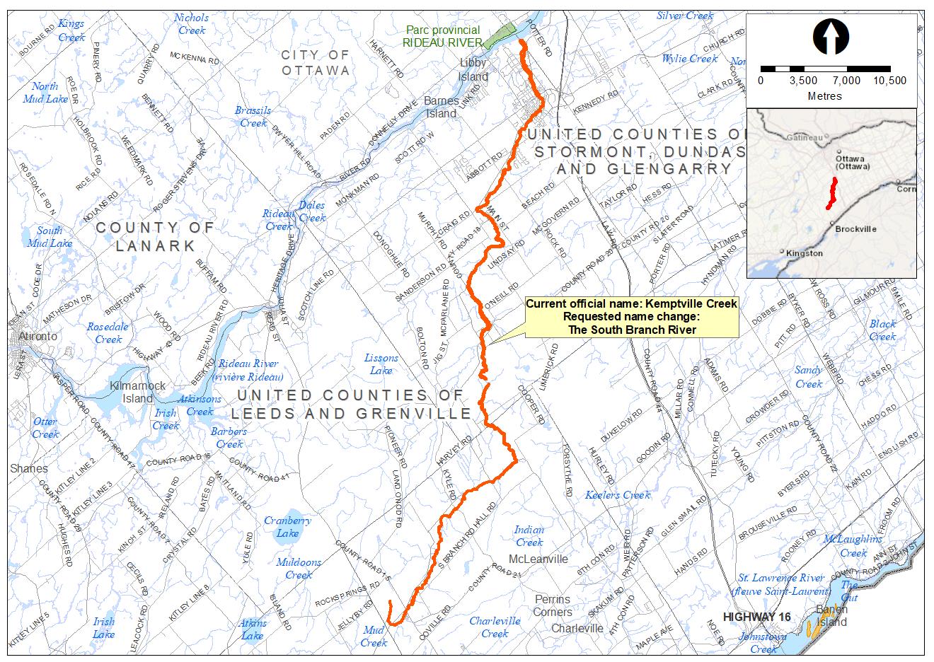 map of kemptville creek