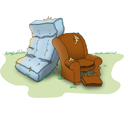 cartoon of an old mattress and an old stuffed chair