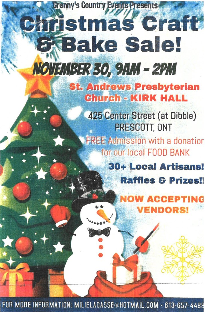 Christmas Craft & Bake Sale @ St. Andrews Presbyterian Church - Kirk Hall | Prescott | Ontario | Canada