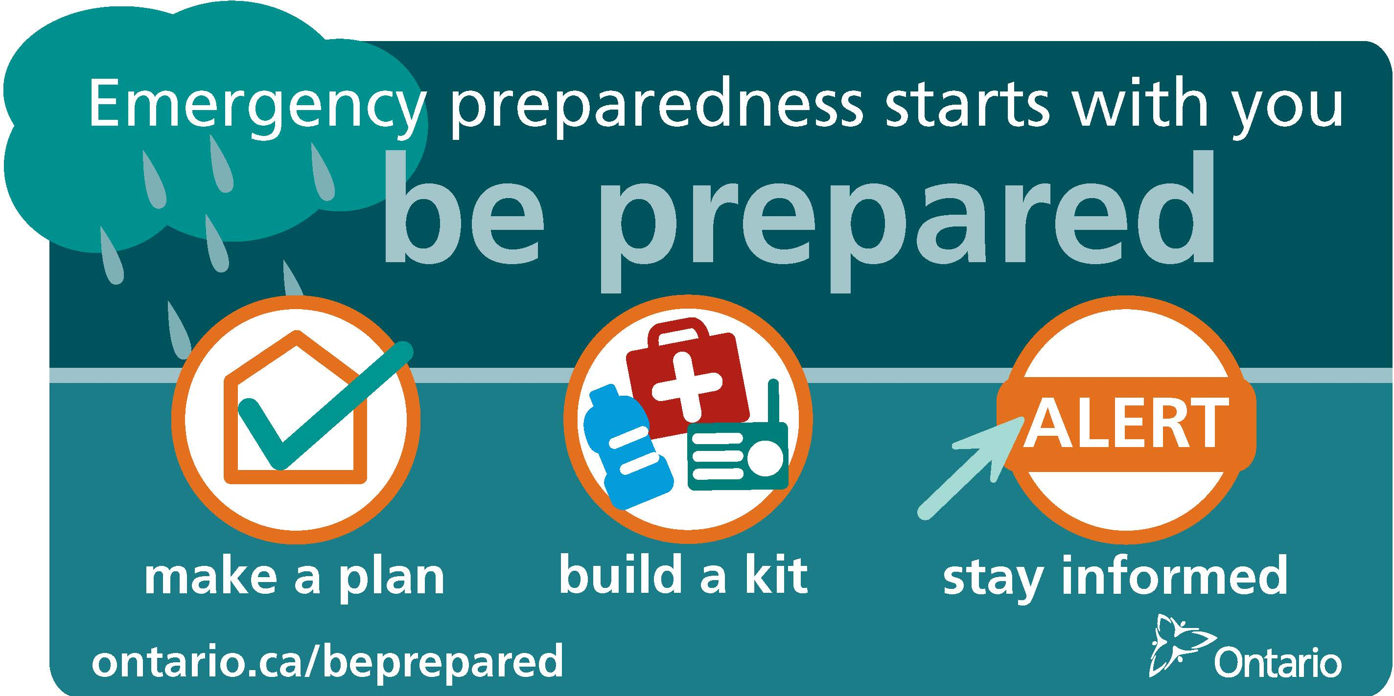 emergency preparedness banner saying make a plan, build a kit and stay informed