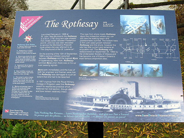 shows the dedication plaque at the rothesay dive site