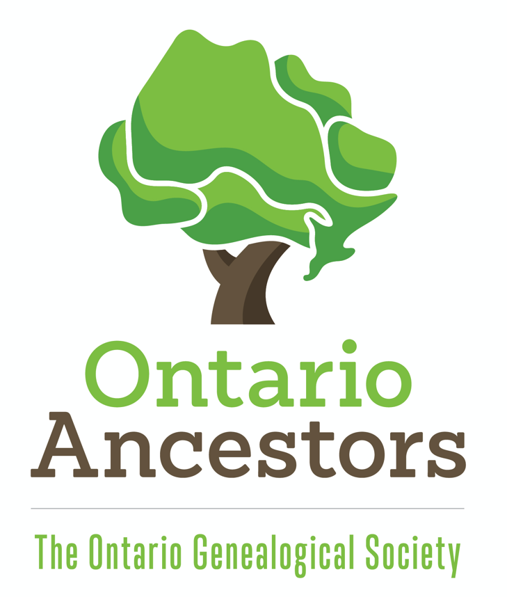 pic of a tree and underneath it says ontario ancestors, the ontario genealogical society