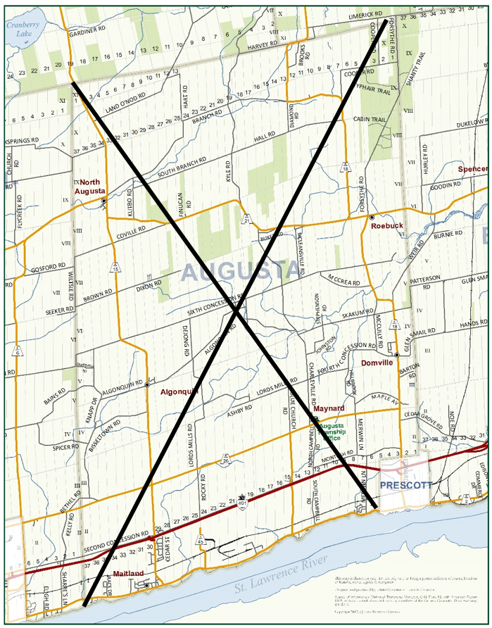 map of Augusta with an X drawn through it.