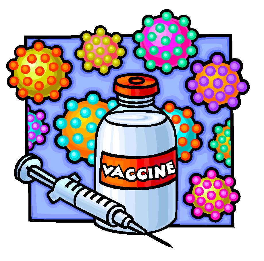 cartoon of vaccine bottle and needle and germs