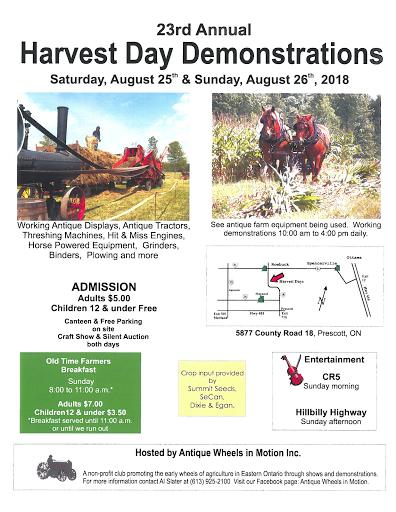Harvest Day Demonstrations 2018 Flyer